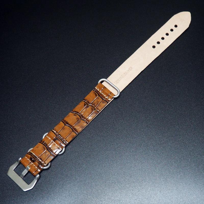 24mm Nato Style 橙色牛皮錶帶配針扣