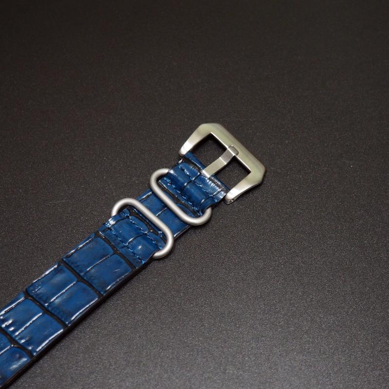 24mm Nato Style 藍色牛皮錶帶配針扣