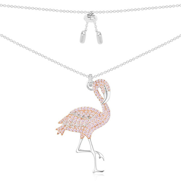 APM Monaco COLLECTION ROSE - Silver Pink Flamingo Necklace (AC3922XORW)