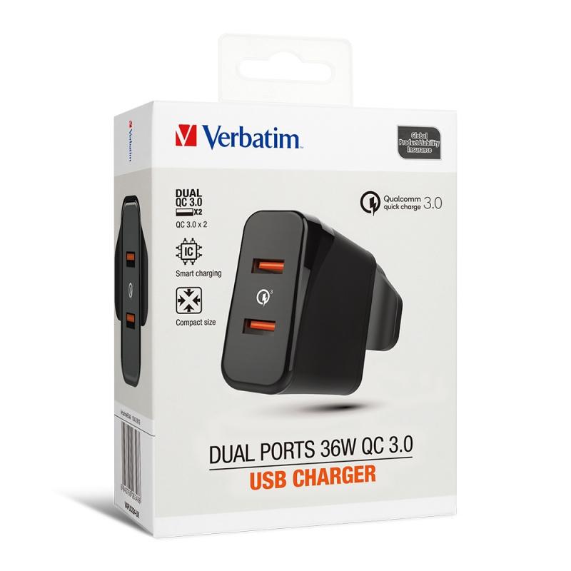 Verbatim Dual Ports 36W QC3.0充電器
