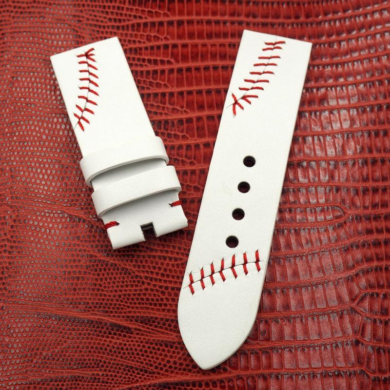 24mm Panerai 白色棒球風意大利牛皮手工錶帶配針扣
