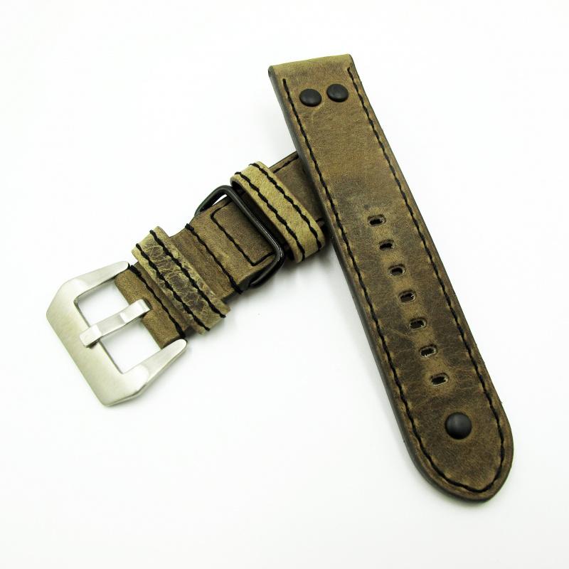 24mm 復古暗黃色牛皮錶帶配針扣