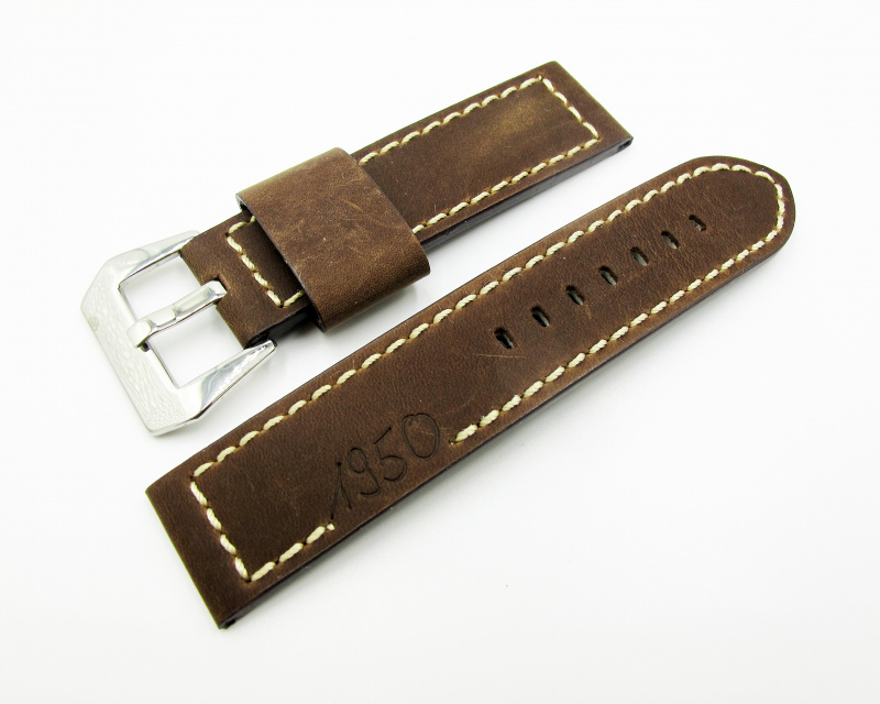 24mm 經典「1950」棕色牛皮錶帶配針扣