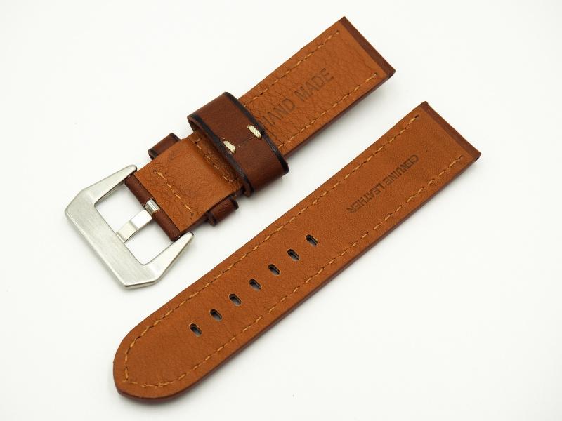 24mm 經典棕色牛皮錶帶配針扣