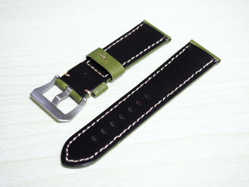24mm Panerai 綠色牛皮錶帶配針扣