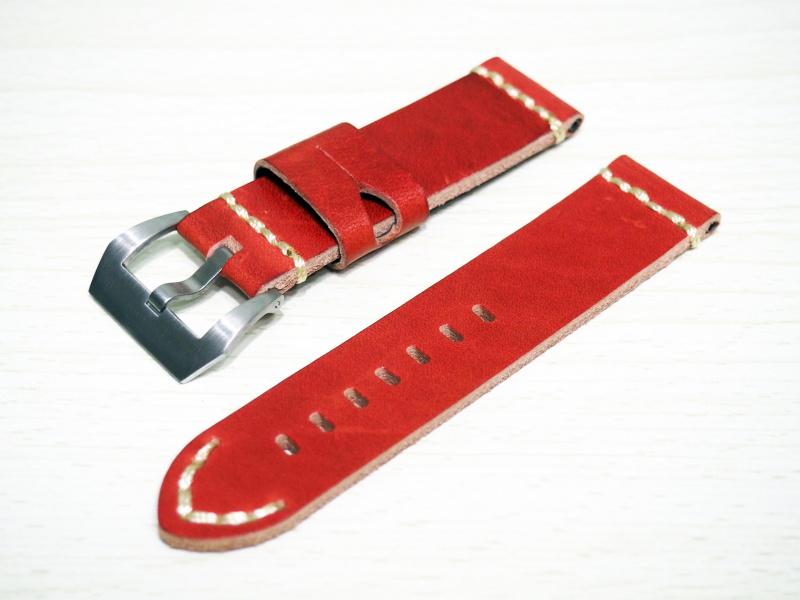 24mm Panerai 懷舊紅色牛皮錶帶配針扣
