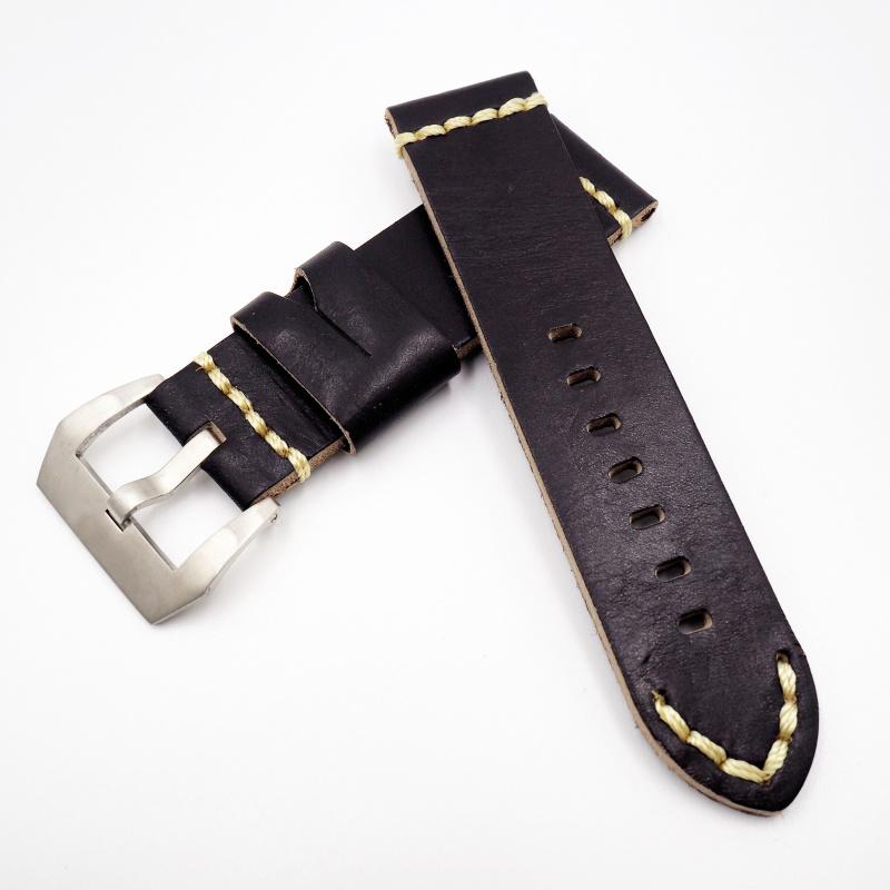 24mm Panerai 懷舊黑色牛皮錶帶配針扣