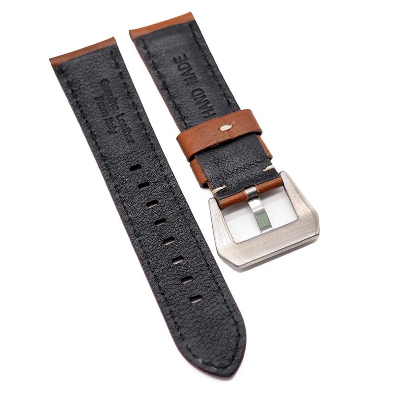 24mm Panerai 橙紅色意大利牛皮代用錶帶