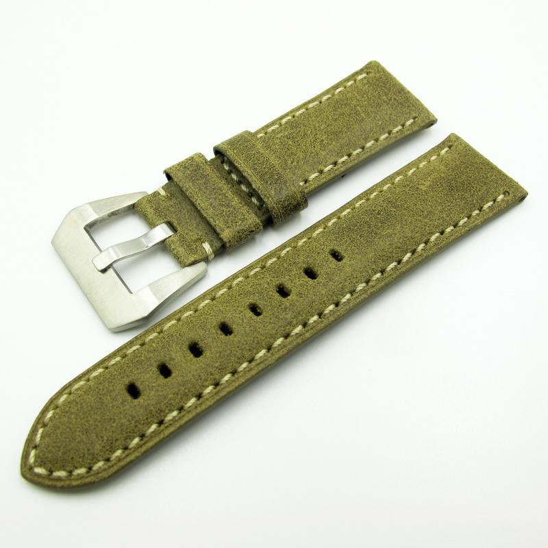 24mm Panerai 綠色意大利牛皮錶帶配針扣