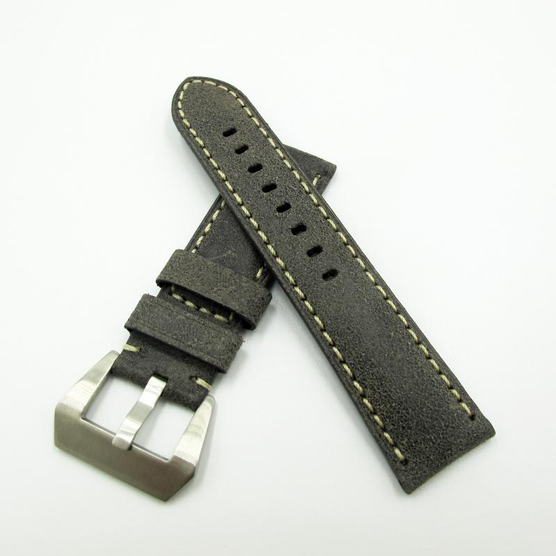 24mm Panerai 黑色意大利牛皮錶帶配針扣