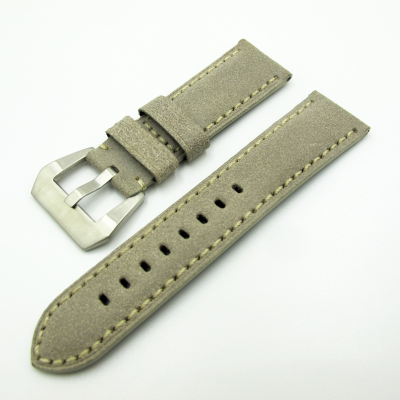 24mm Panerai 灰色意大利牛皮錶帶配針扣