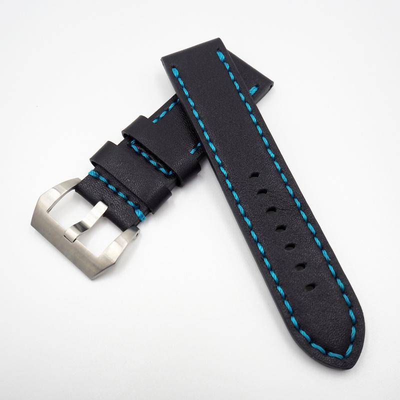 24mm Panerai 黑色藍車線牛皮錶帶配針扣