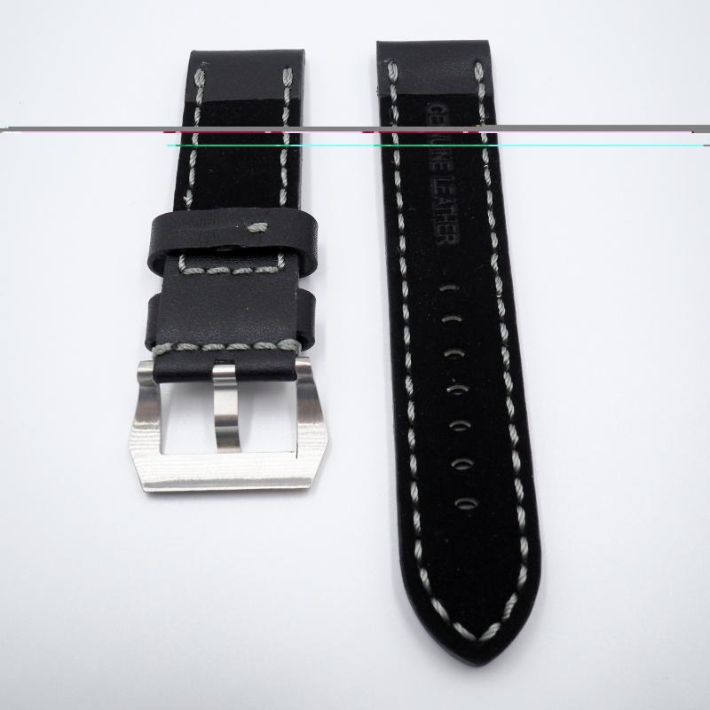 24mm Panerai 黑色灰車線牛皮錶帶配針扣