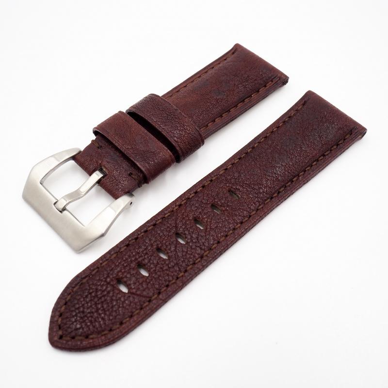24mm Panerai 紅色牛皮錶帶配針扣
