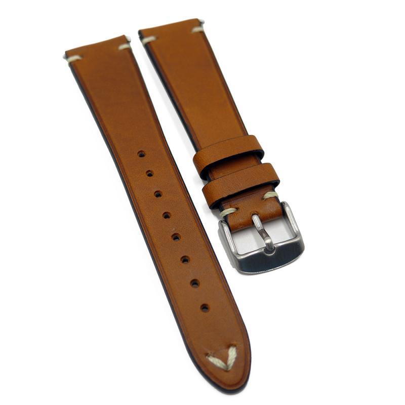 20mm 優質意大利啡色 Pueblo 牛皮復古錶帶, 快拆生耳