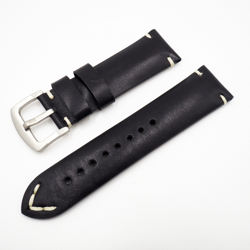 24mm 經典黑色意大利牛皮錶帶配針扣