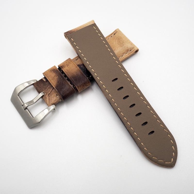 24mm Panerai 棕/黑拼色牛皮錶帶配針扣