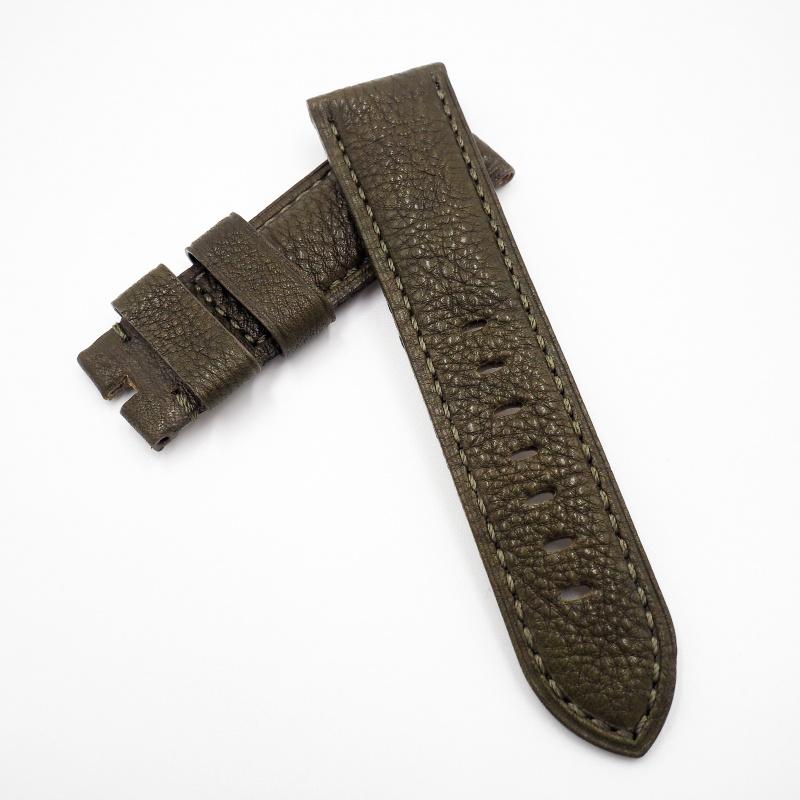 24mm Panerai 橄欖綠色牛皮錶帶配針扣