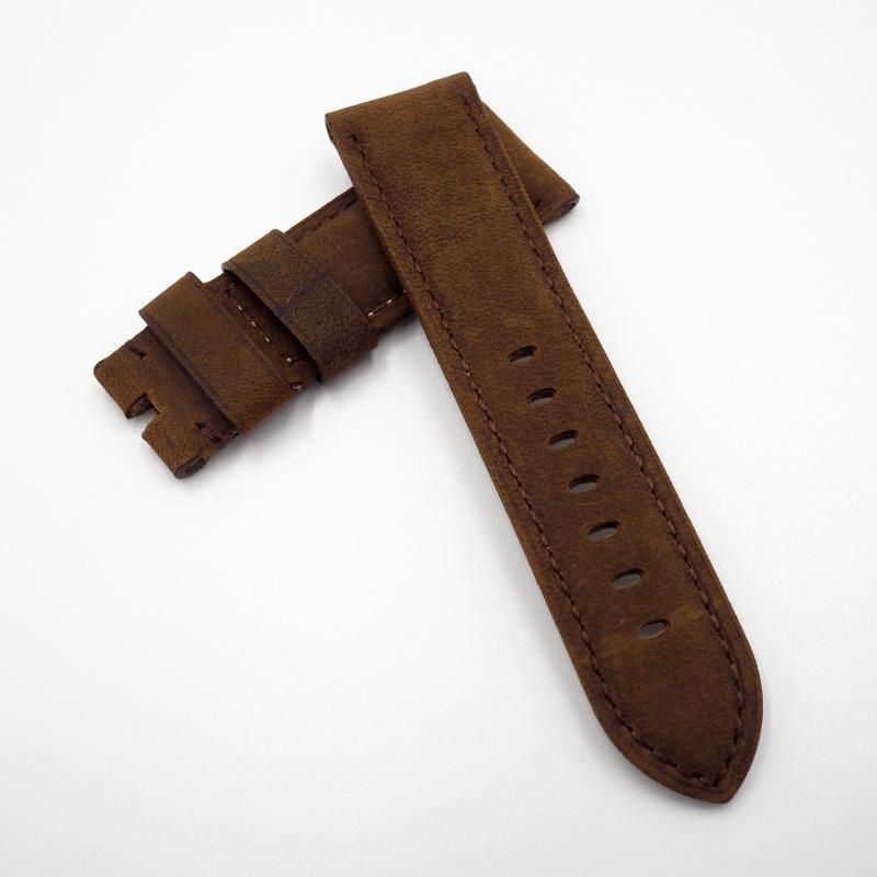 24mm Panerai 深棕色牛皮錶帶配針扣