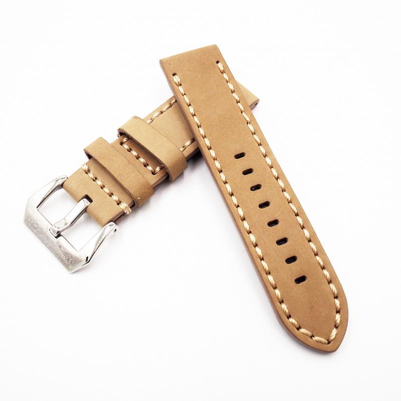 24mm Panerai 卡其色牛皮錶帶配針扣