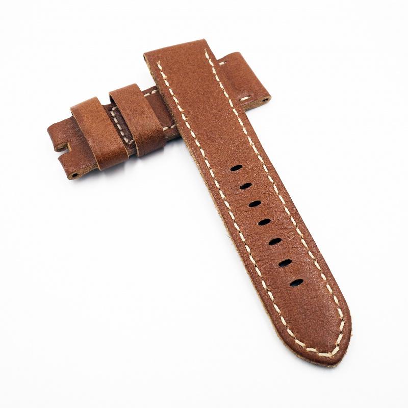 24mm Panerai 棕色牛皮錶帶配針扣