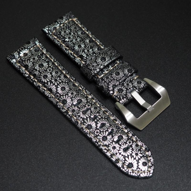 24mm Panerai 經典銀色牛皮花紋錶帶配針扣