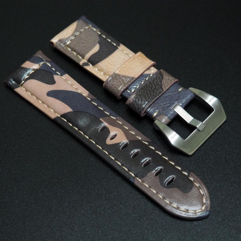 24mm Panerai 迷彩牛皮錶帶配針扣