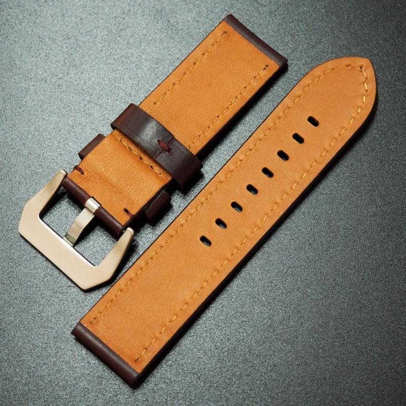20mm Rolex紅褐色Horween牛皮白車線錶帶配針扣