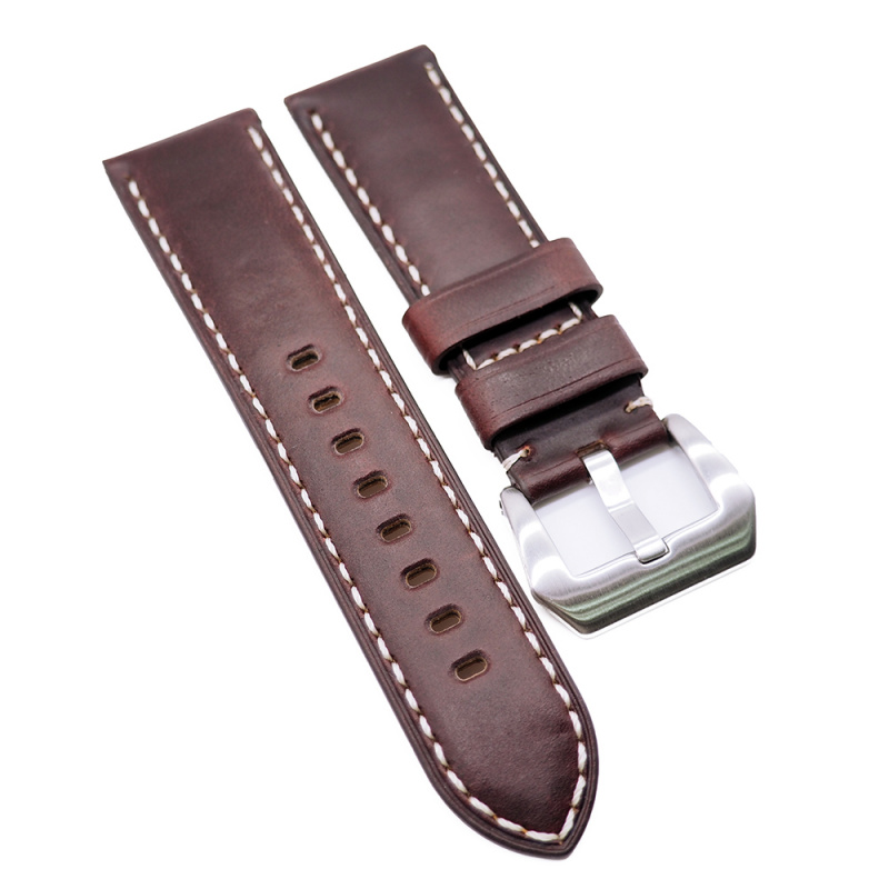20mm, 22mm, 24mm 紅褐色高級 Horween 牛皮白車線錶帶