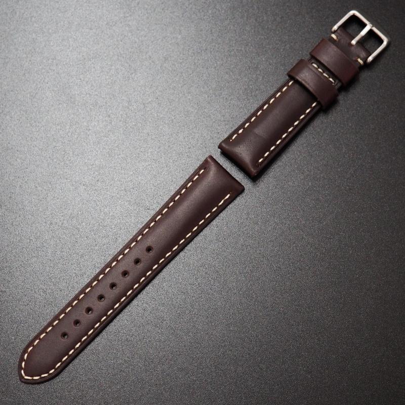 24mm Panerai Style紅褐色Horween牛皮白車線錶帶配針扣