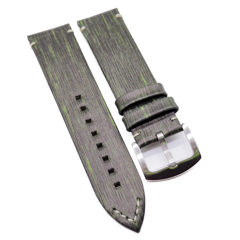 23mm Zenith Style 黑綠直紋復古牛皮代用錶帶
