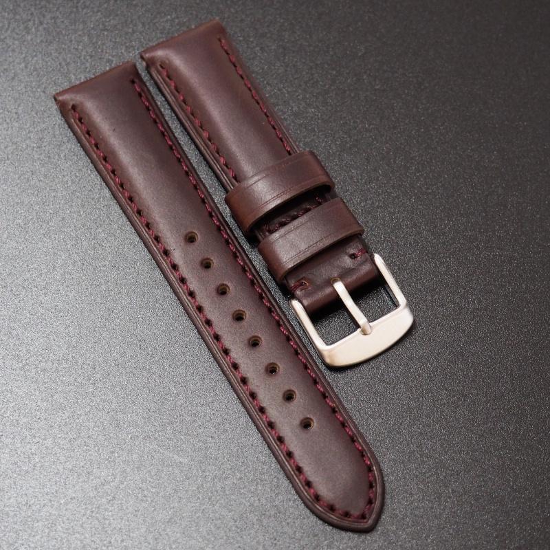 20mm Rolex紅褐色Horween牛皮錶帶配針扣