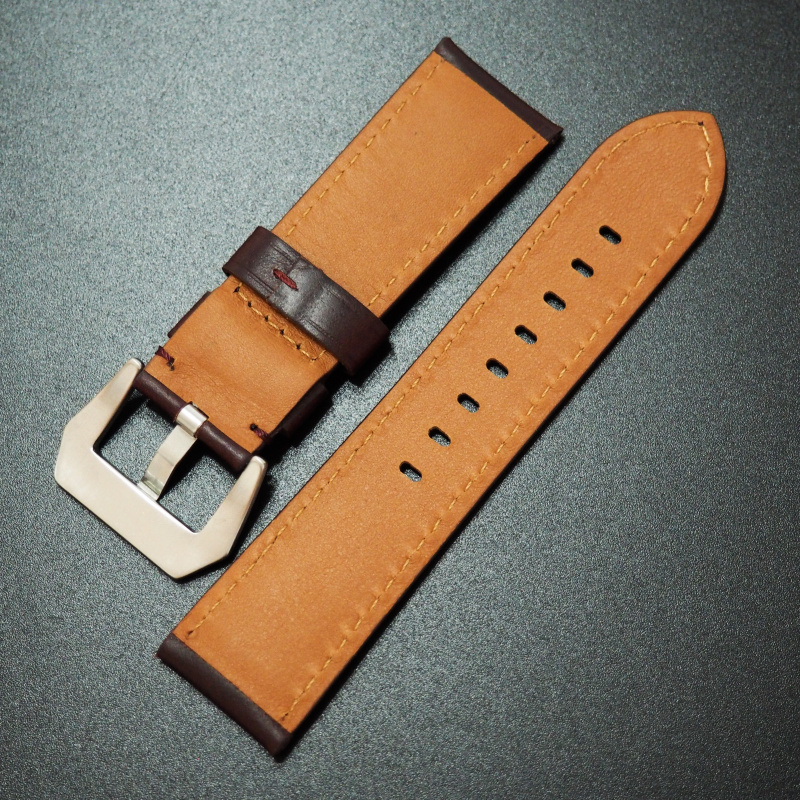24mm Panerai Style紅褐色Horween牛皮錶帶配針扣