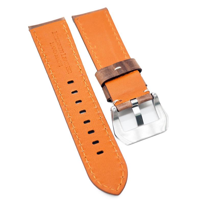 20mm, 22mm, 24mm 棕色高級 Horween 牛皮白車線錶帶
