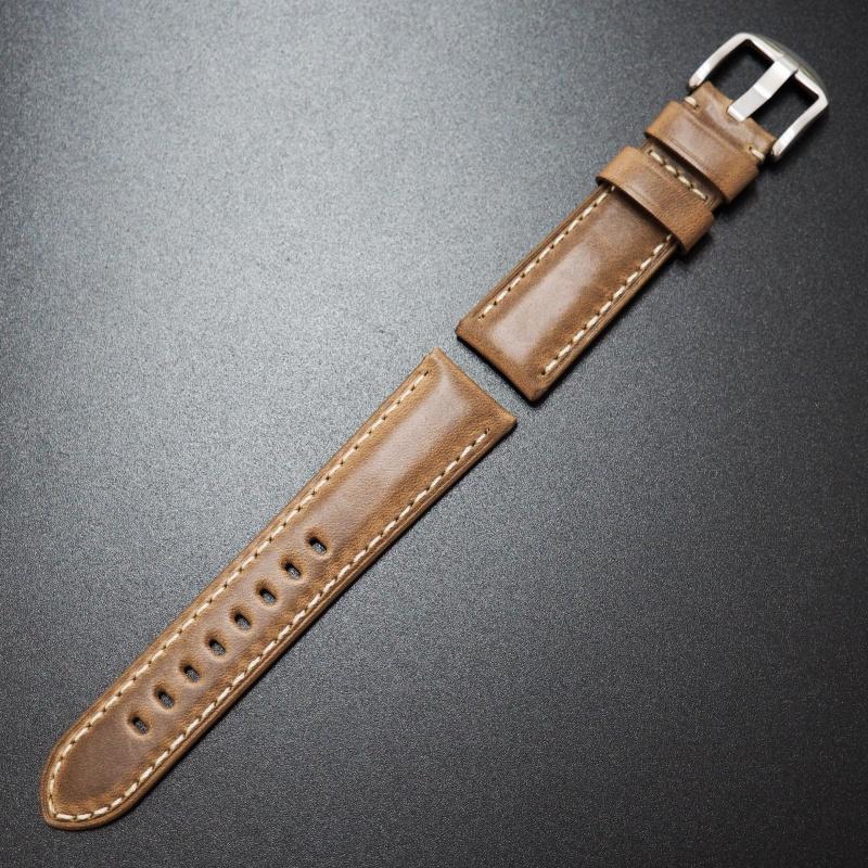 22mm Panerai Style棕色Horween牛皮白車線錶帶配針扣