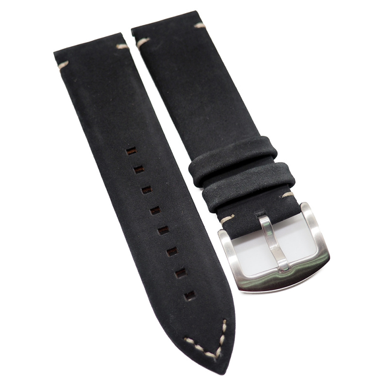 23mm Zenith Style 黑色復古牛皮代用錶帶