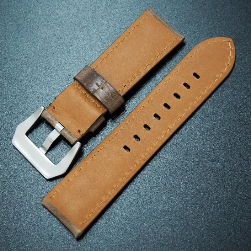 24mm Panerai Style棕色Horween牛皮白車線錶帶配針扣