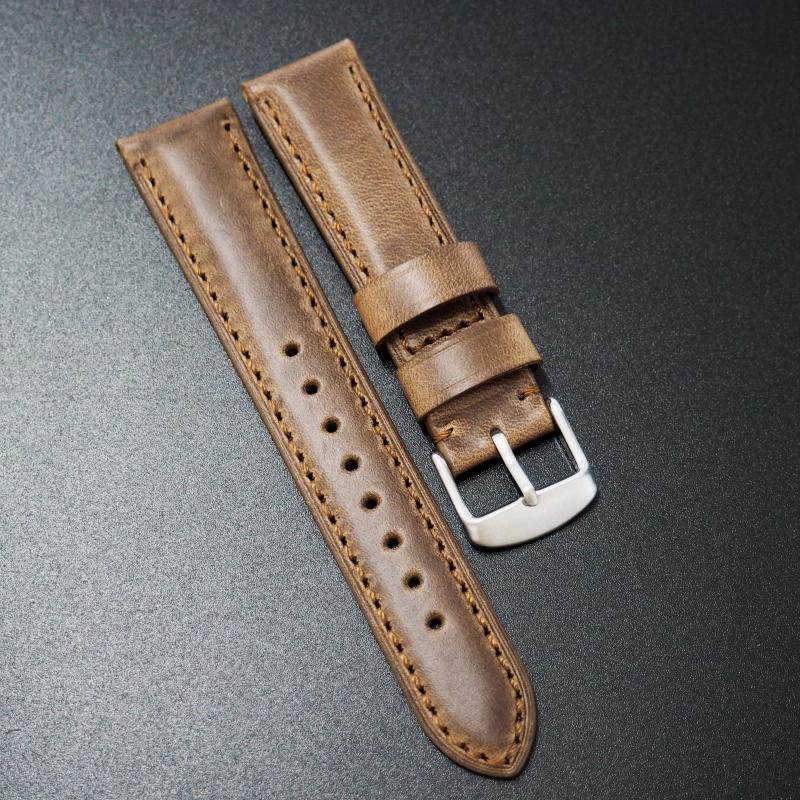20mm Panerai Style棕色Horween牛皮錶帶配針扣