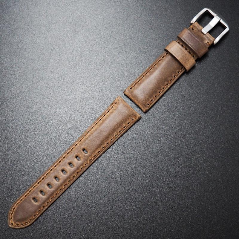 22mm Panerai Style棕色Horween牛皮錶帶配針扣