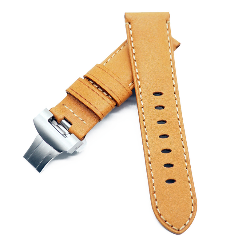 24mm Panerai Style 淺黃色牛皮錶帶配蝴蝶扣