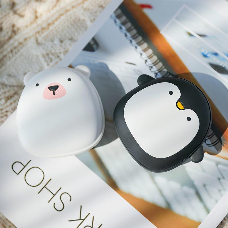 南北極企鵝充電暖手寶移動電源二合一 情侶禮物