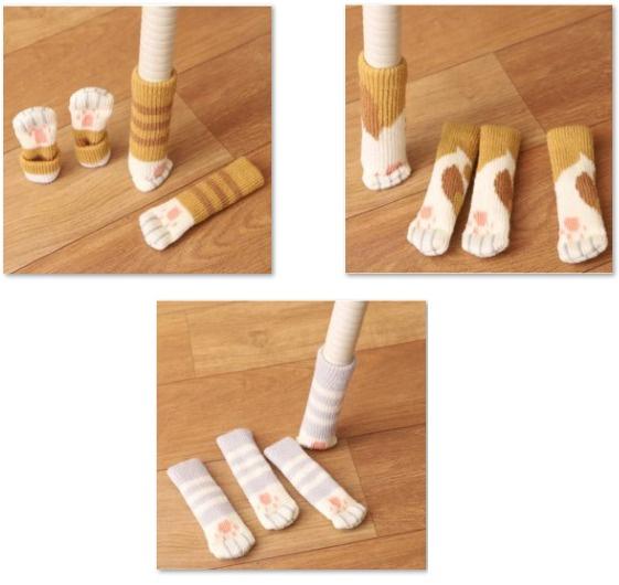 創意貓咪肉墊造型靜音防刮花桌椅腳套 [1套4隻][3款] 黃虎斑/灰虎斑/嘉德利奧