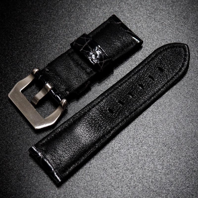 24mm Panerai Style 黑灰色鱷魚皮錶帶 (女性尺寸)