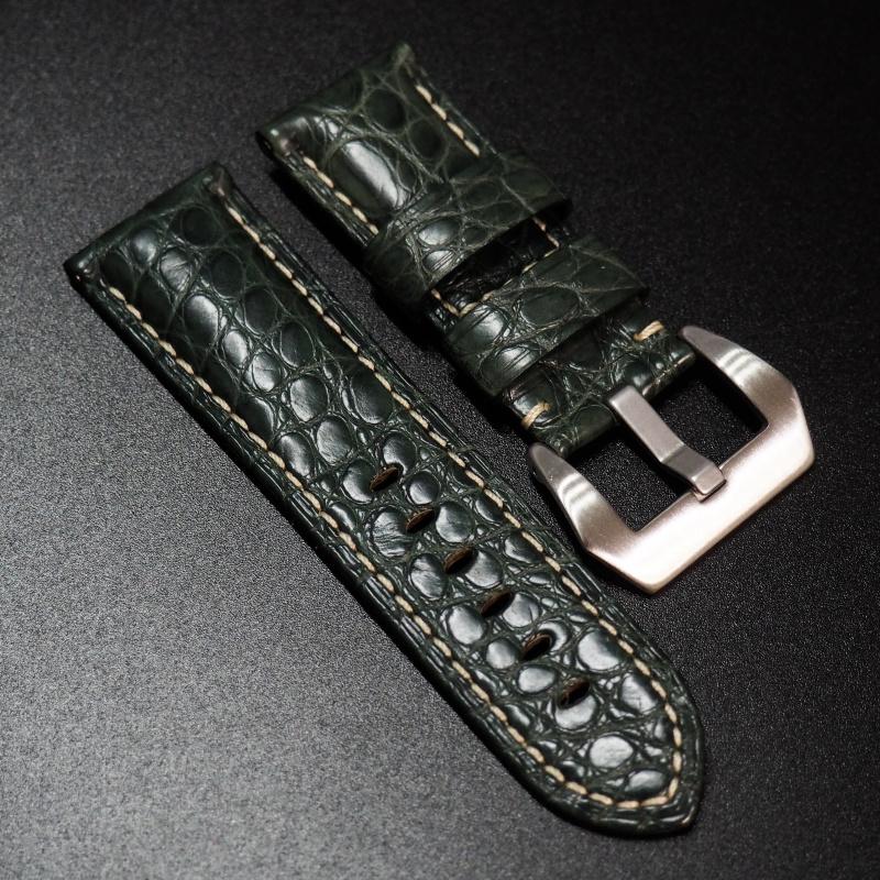 24mm Panerai Style 綠色鱷魚皮錶帶 (女性尺寸)