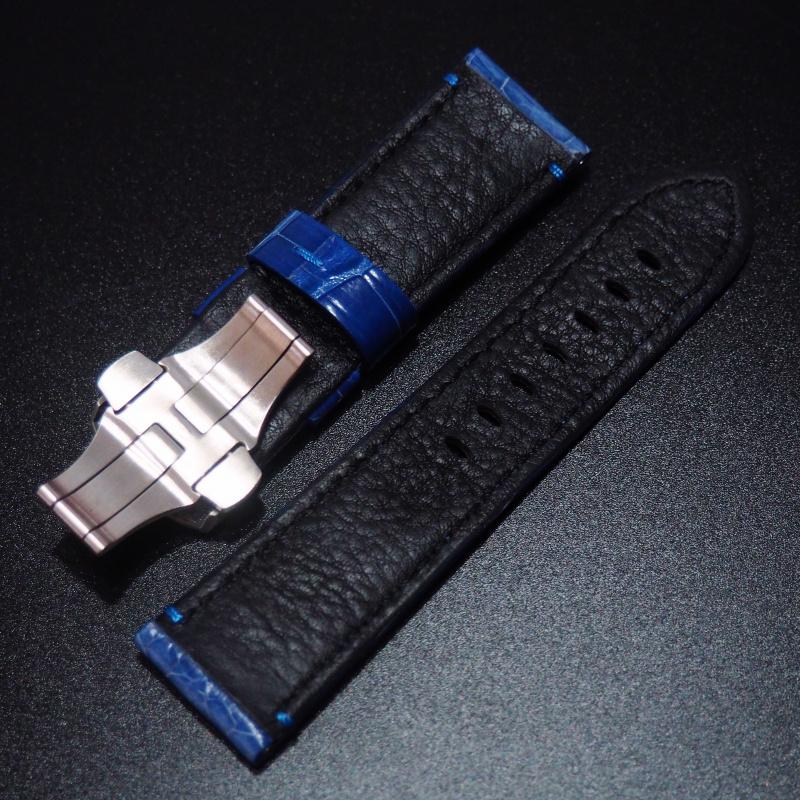 24mm Panerai Style 藍色鱷魚皮錶帶配蝴蝶扣