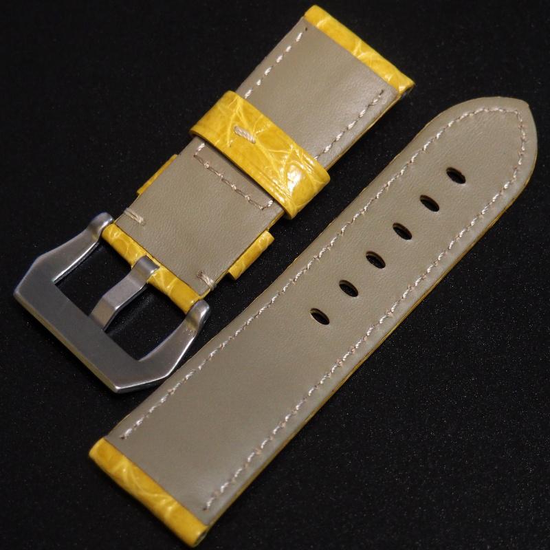 24mm Panerai Style 黃色鱷魚皮錶帶 (女性尺寸)