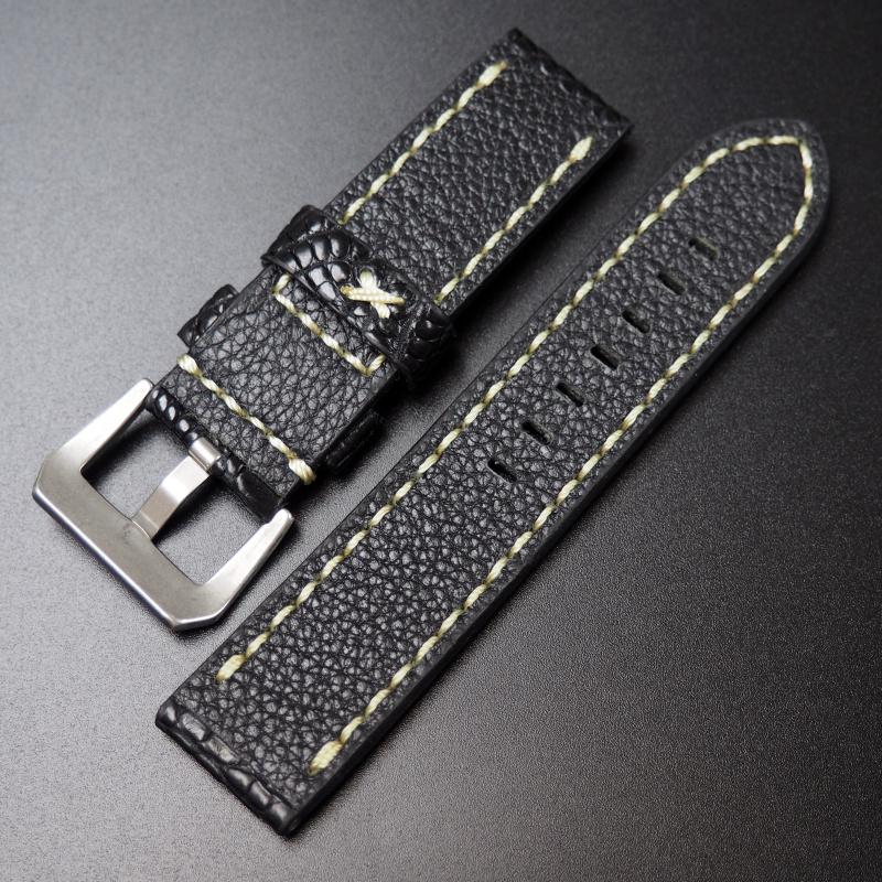 24mm Panerai 黑色鱷魚皮手工錶帶配針扣