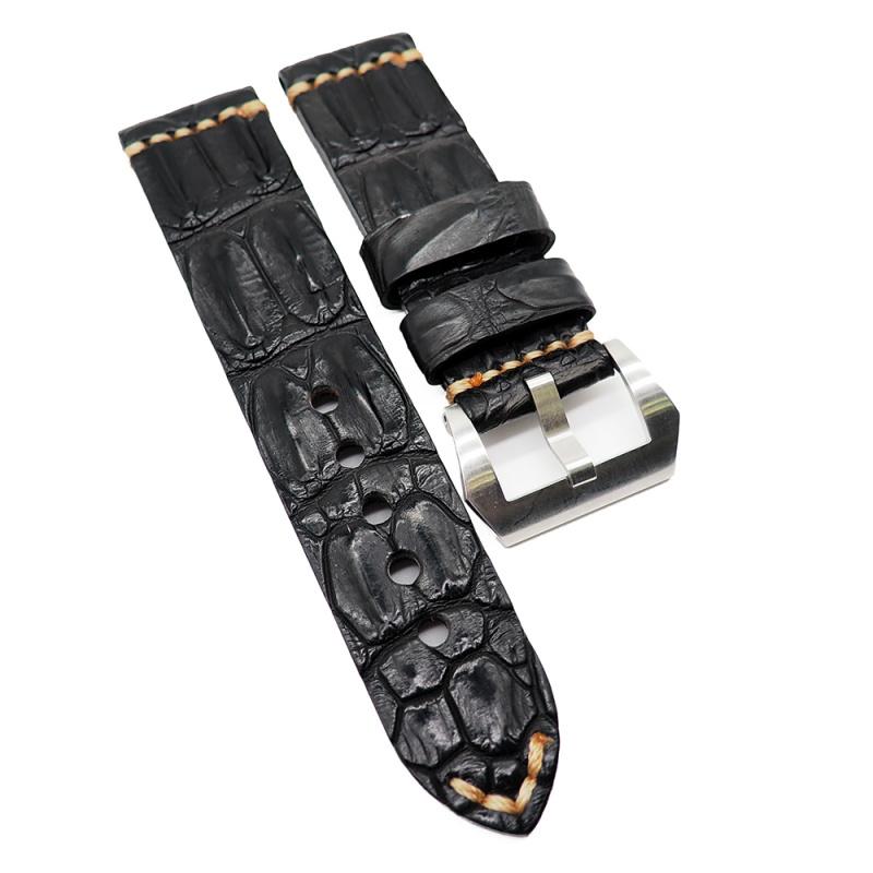 24mm Vintage 黑色鱷魚背骨鱷魚皮錶帶