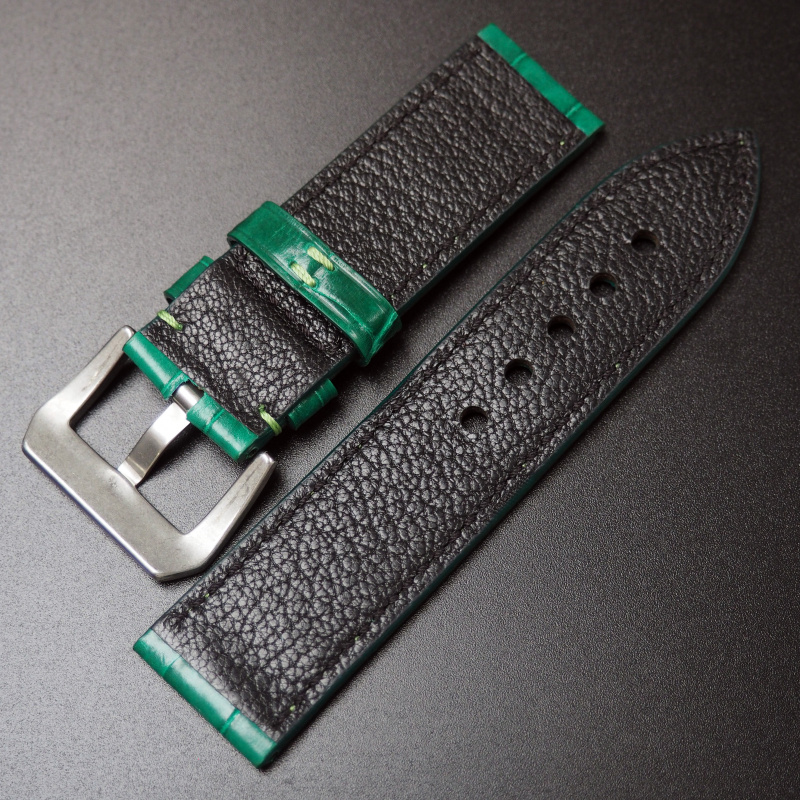 24mm Panerai 經典綠色鱷魚皮手工錶帶配針扣