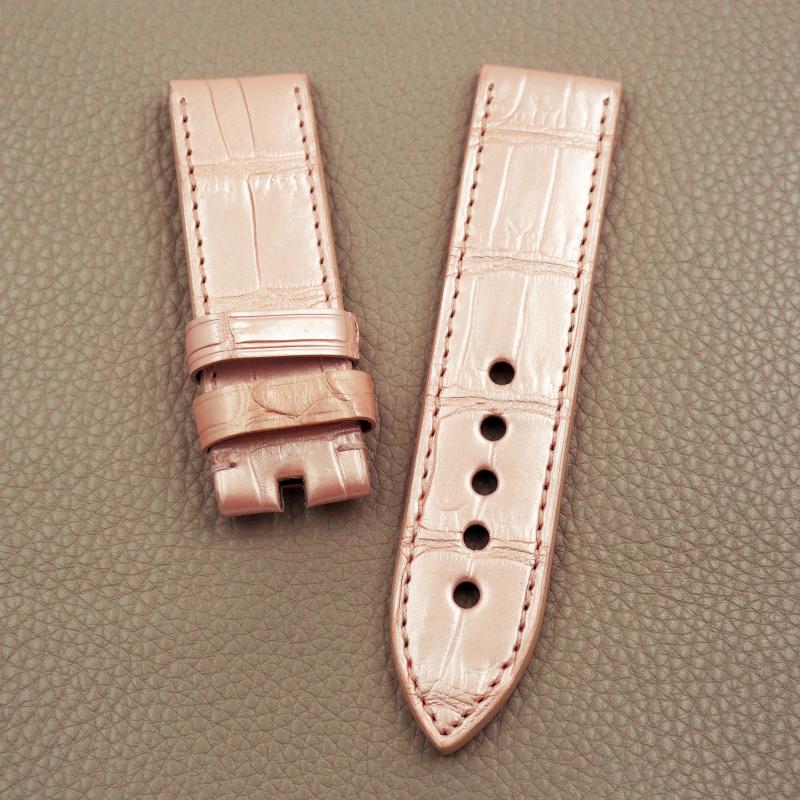 24mm Panerai 經典粉紅色鱷魚皮手工錶帶配針扣